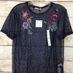 Zara Lacey top with embroidered flowers, PRETTY